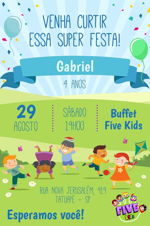 Convite de aniversario - Five Kids Menino