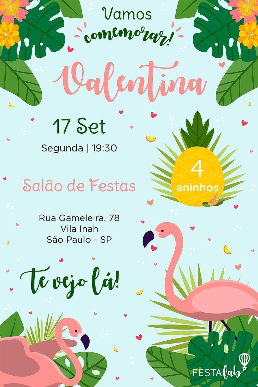 Convite de aniversario - Flamingo