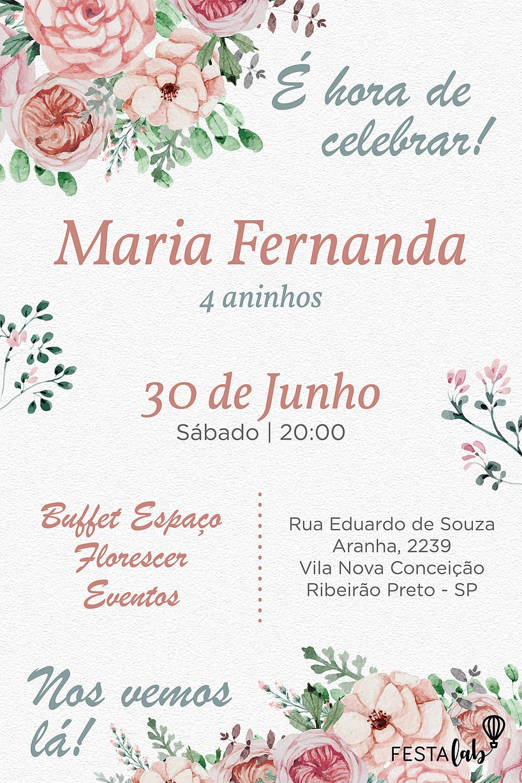 Convite de aniversario - Flores