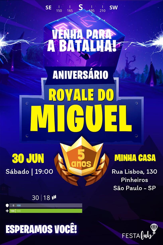 Convite de Aniversario - Fortnite
