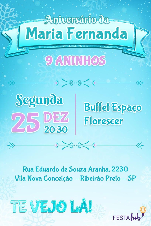 Convite de aniversario - Frozen