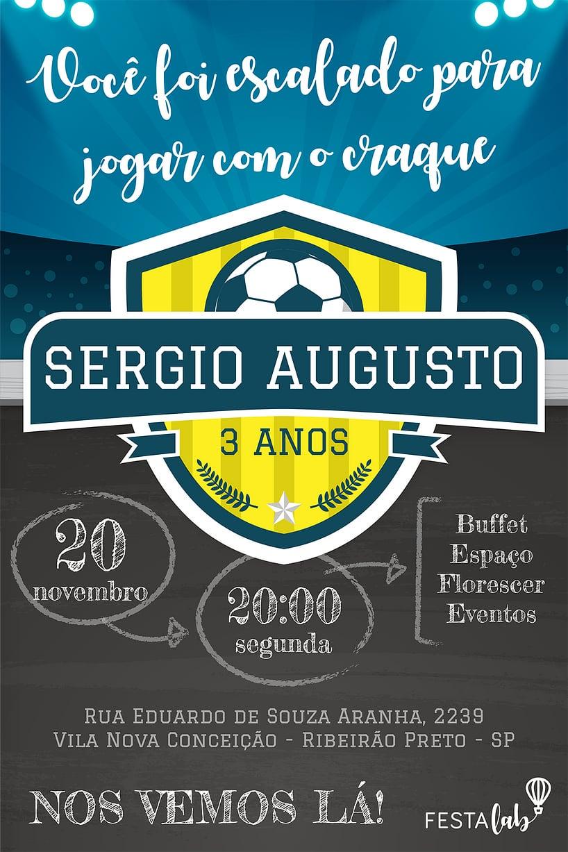 Convite de Aniversario - Futebol