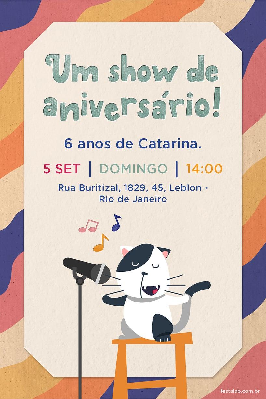 Convite de Aniversario - Gatinho
