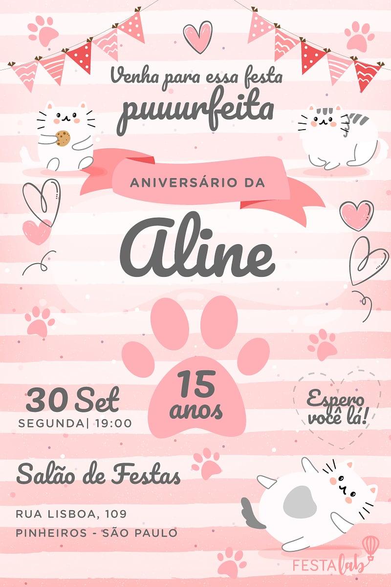 Convite de Aniversario - Gatinhos