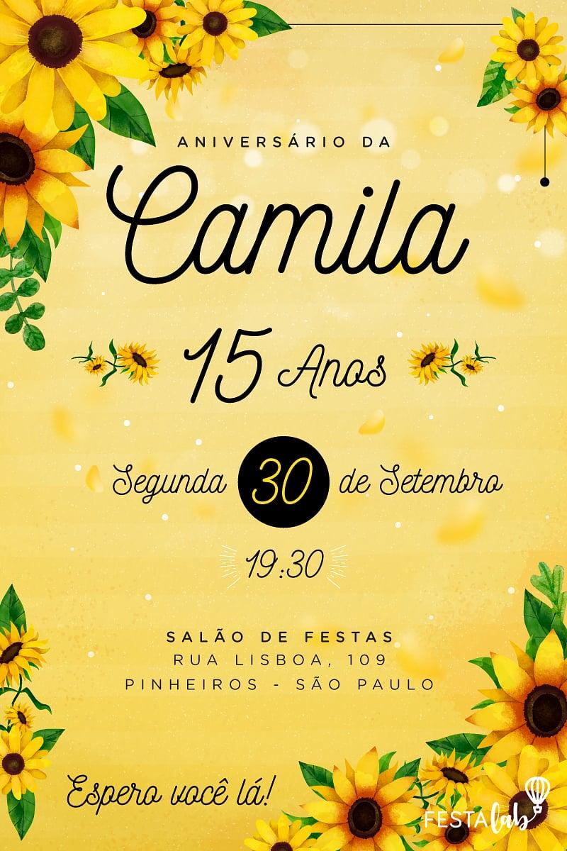 Convite de Aniversario - Girassol