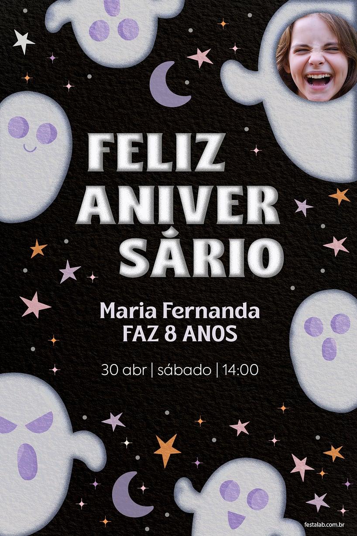 Convite de Aniversario - Halloween Fantasminha