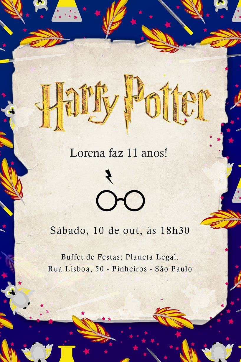 Convite de Aniversario - Harry Potter Corvinal