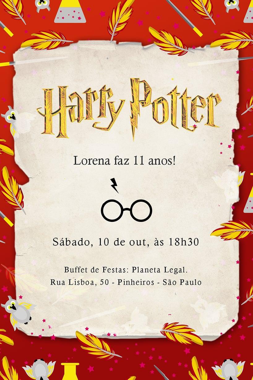 Convite de Aniversario - Harry Potter Grifinoria