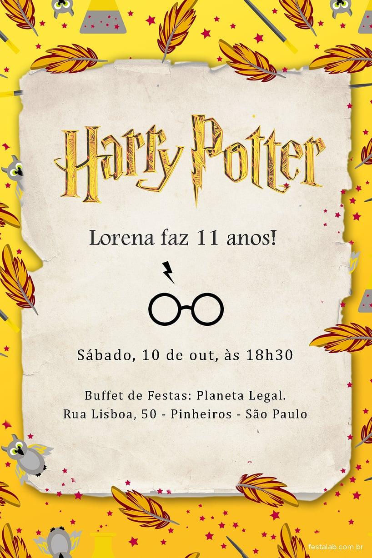 Convite de Aniversario - Harry Potter Lufa Lufa