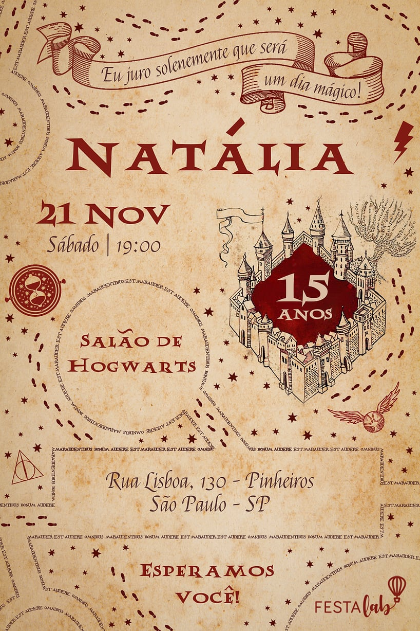 Convite de Aniversario - Harry Potter