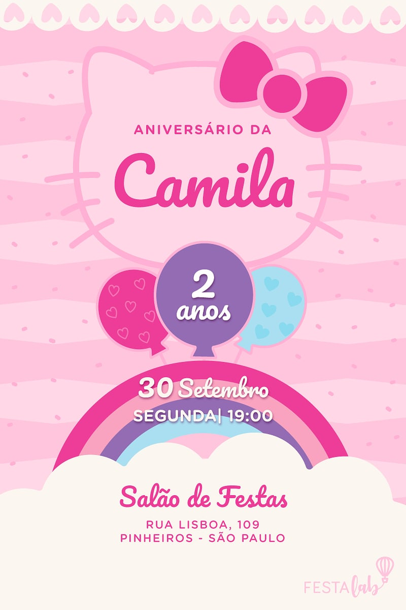 Convite de Aniversario - Hello Kitty