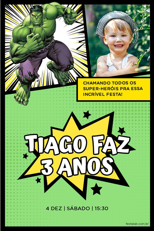 Convite de Aniversario - Hulk Quadrinhos