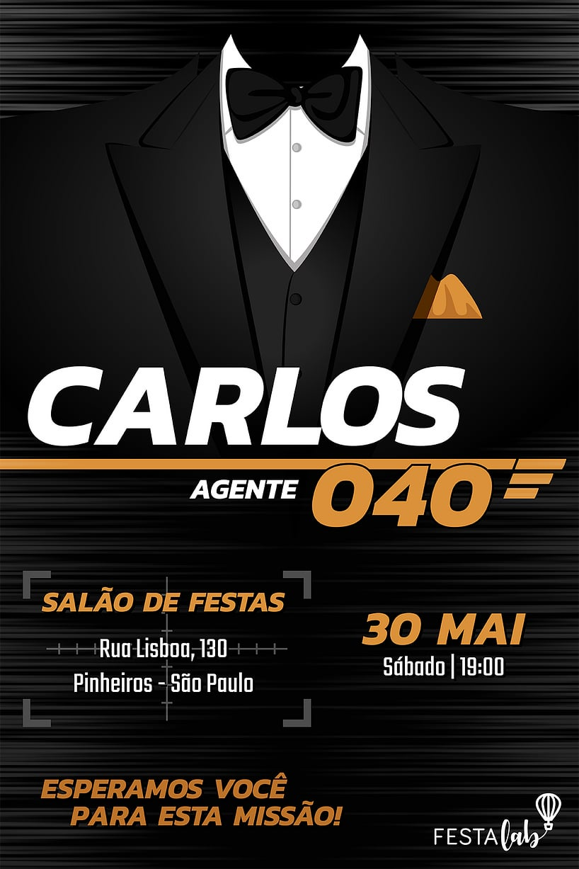 Convite de Aniversario - James Bond - 007
