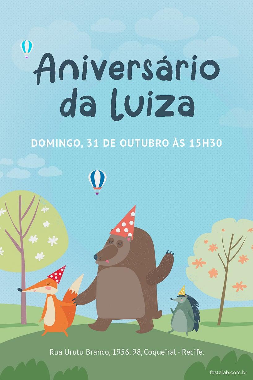Convite de Aniversario - Jardim Encantado Animais