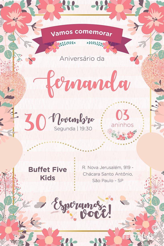 Convite de Aniversario - Jardim Encantado