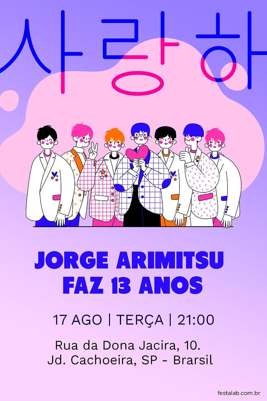 Convite de Aniversario - K-POP BTS