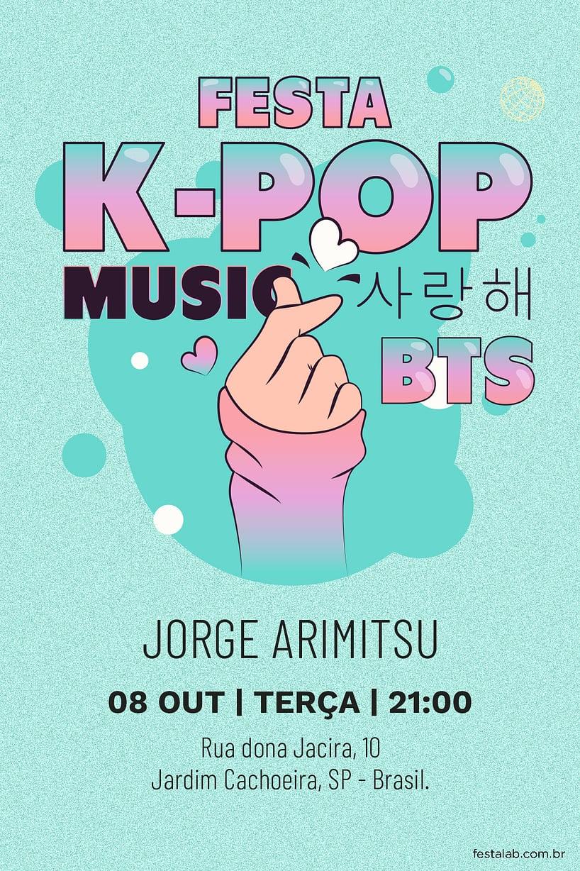 Convite de Aniversario - Kpop