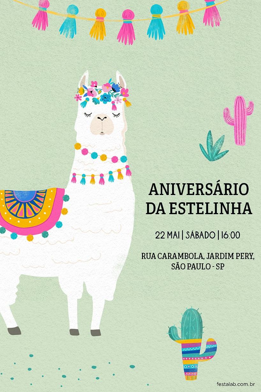 Convite de Aniversario - Lhama Color