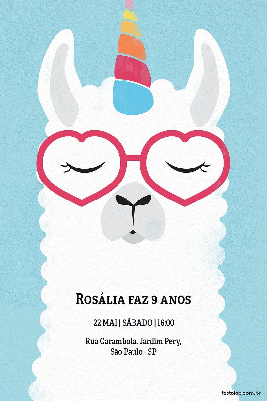 Convite de Aniversario - Lhama unicornio