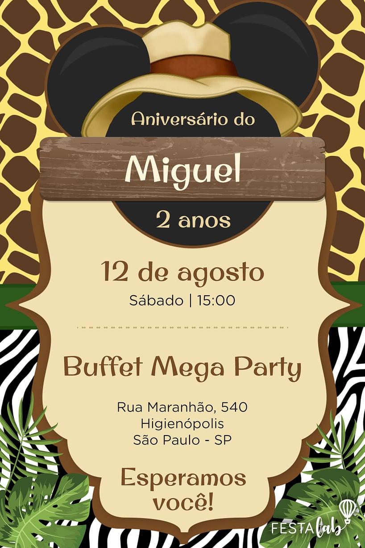 Convite de aniversario - Mickey Safari