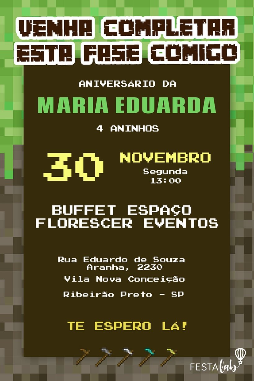 Convite de aniversario - Minecraft