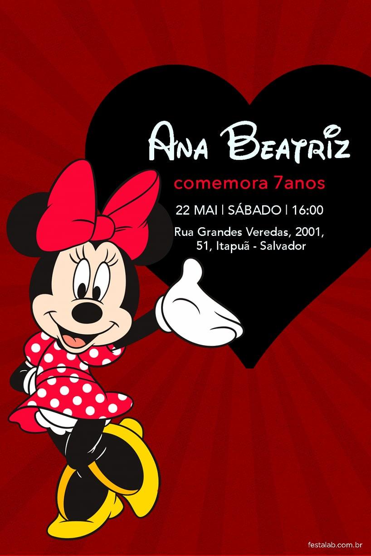 Convite de Aniversario - Minnie Mouse Classica