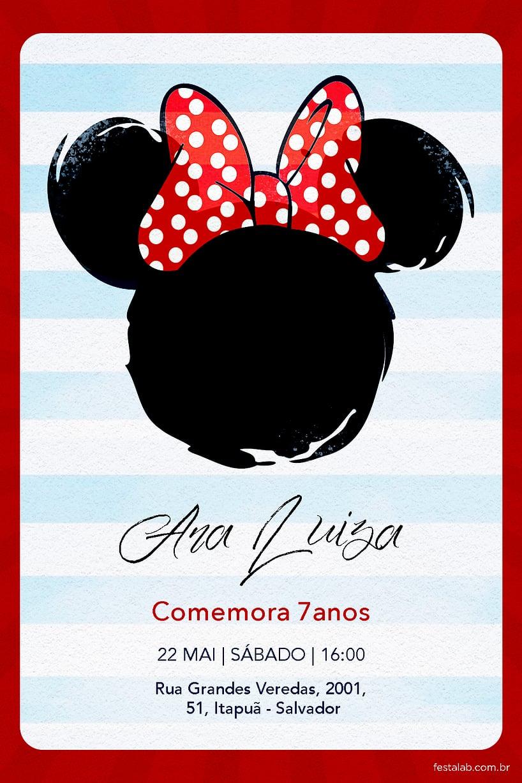 Convite de Aniversario - Minnie Mouse Laco