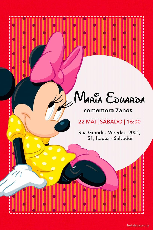Convite de Aniversario - minnie mouse rosa