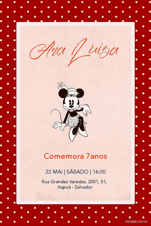 Convite de Aniversario - Minnie Mouse Vintage