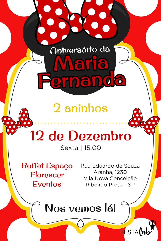 Convite de aniversario - Minnie Vermelha