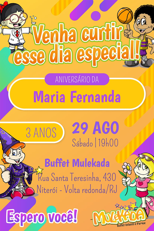 Convite de Aniversario - Mulekada Buffet Infantil e Parque