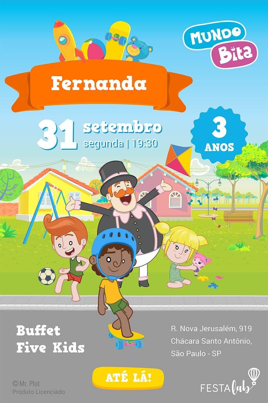 Convite de aniversario - Mundo Bita Brincadeiras