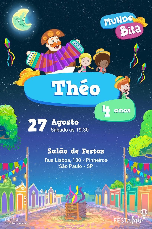 Convite de Aniversario - Mundo Bita - Festa Junina
