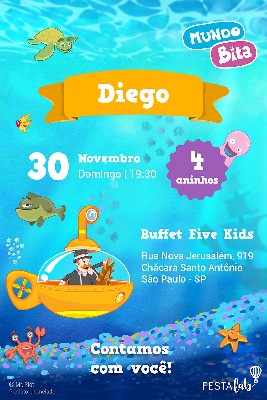 Convite de Aniversario - Mundo Bita - Fundo do Mar