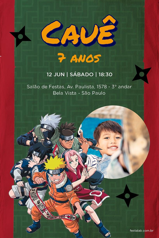 Convite de Aniversario - Naruto Ninjas
