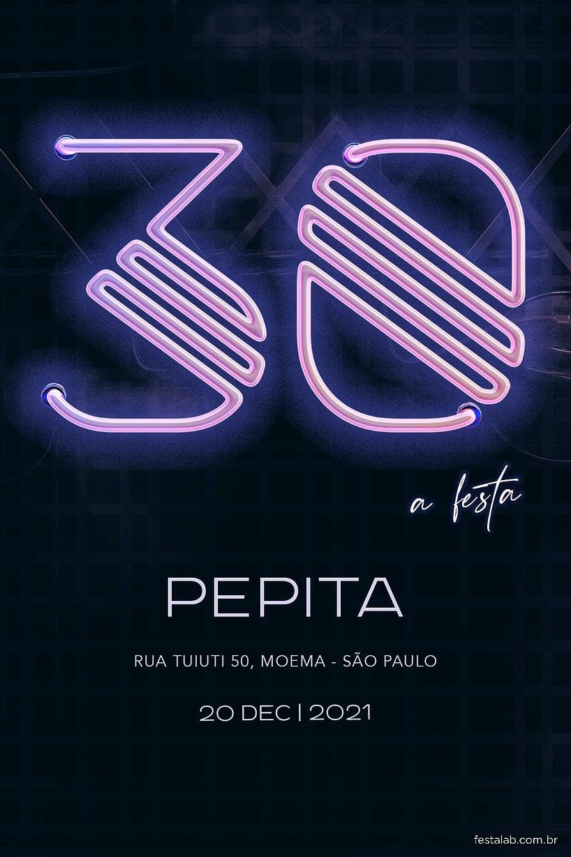 Convite de Aniversario - Neon 30
