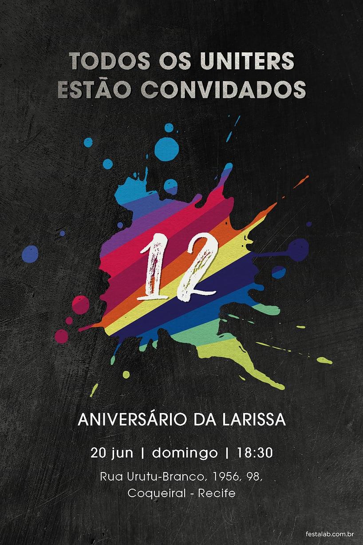 Convite de Aniversario - Now United preto