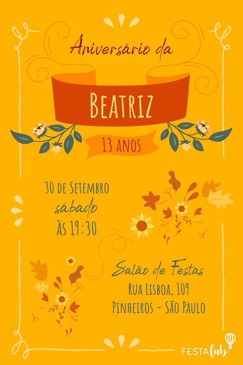 Criar convite de aniversário - Outono| FestaLab