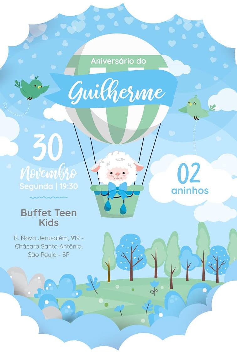 Criar convite de aniversário - Ovelha Baloeira| Festalab