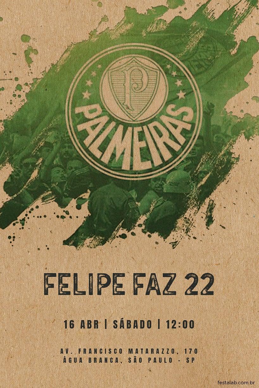 Criar convite de aniversário - Palmeiras| FestaLab