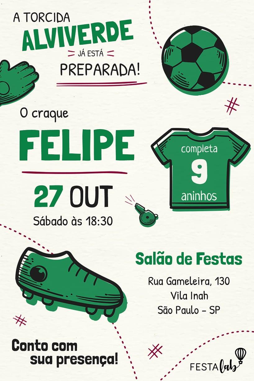 Convite de Aniversario - Palmeiras