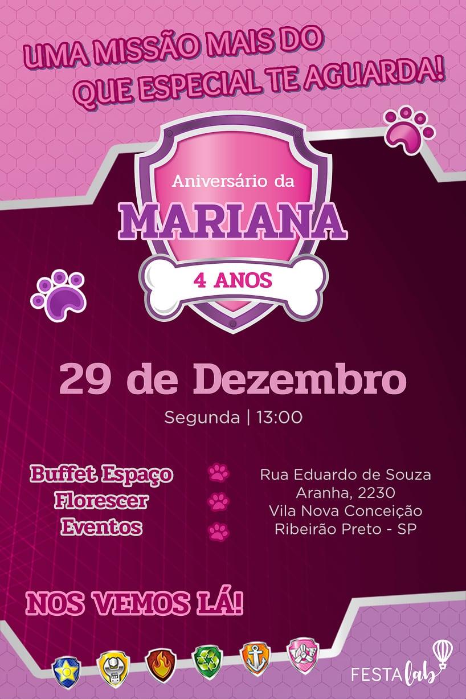 Convite de aniversario - Patrulha Canina Rosa