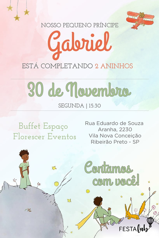 Convite de Aniversario - Pequeno Principe