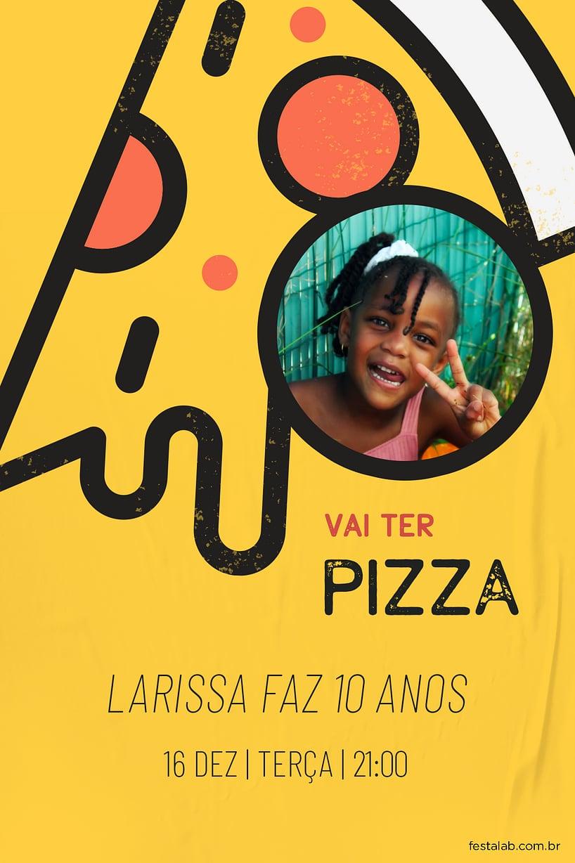 Convite de Aniversario - Pizza Fun
