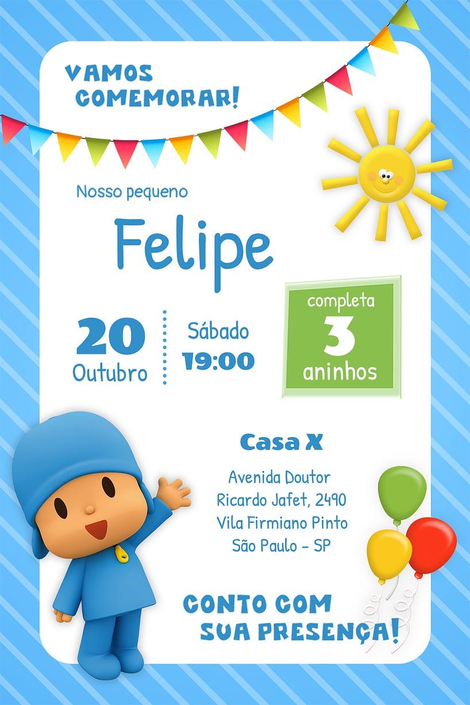 Convite de Aniversario - Pocoyo