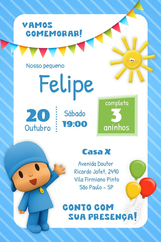 Criar convite de aniversário - Pocoyo| Festalab