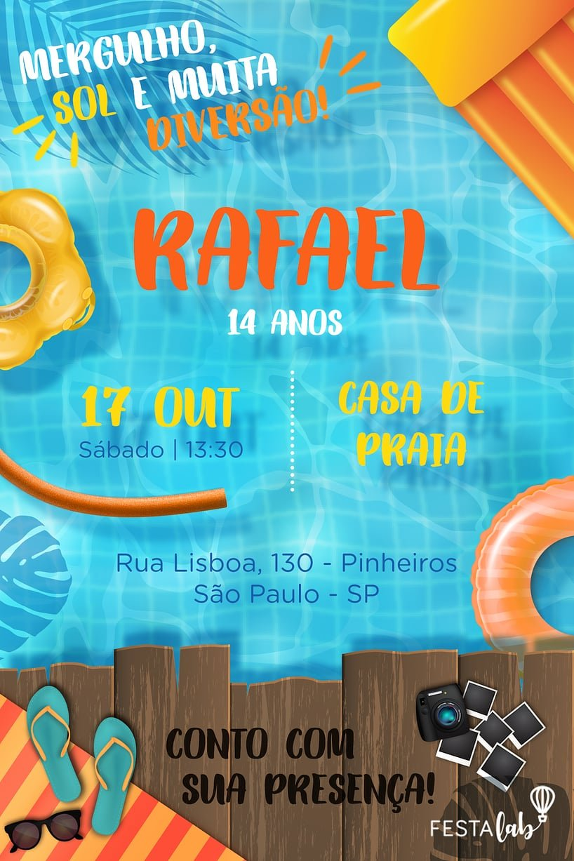 Convite de Aniversario - Pool Party