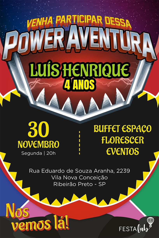 Convite de aniversario - Power Rangers