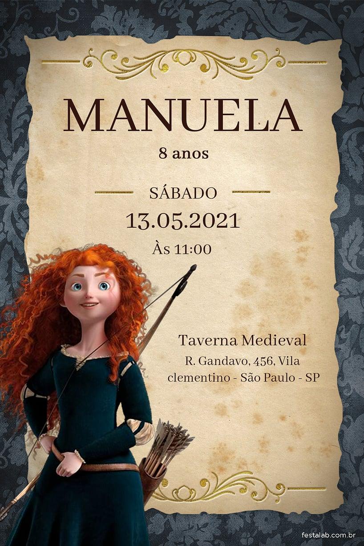 Criar convite de aniversário - Princesa Merida| FestaLab