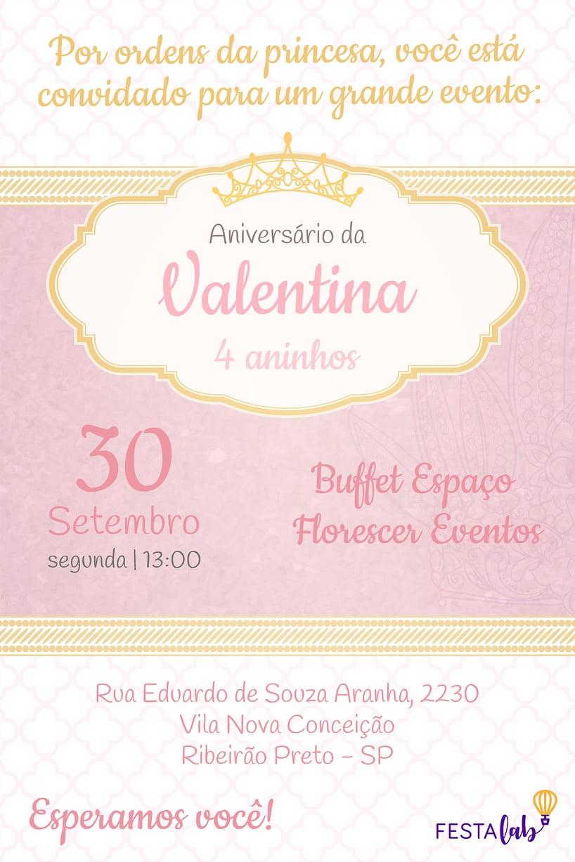 Convite de aniversario - Princesa